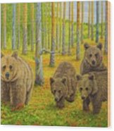 Bear Family Wood Print