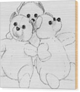 Bear Huddle Wood Print