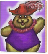 Bear In Red Hat Wood Print