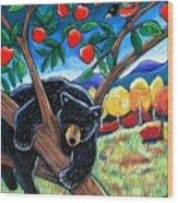 Bear In The Apple Tree Wood Print