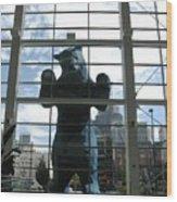 Bear In The Window Wood Print
