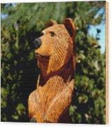 Bear In Woods Wood Print