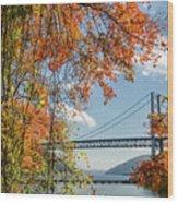 Bear Mountain Bridge Fall Color Wood Print