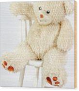 Bear On A Chair Wood Print