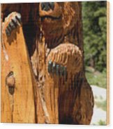 Bear On Trail Wood Print