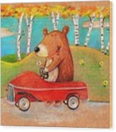 Bear Out For A Drive Wood Print