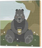Bear With A Jar Of Honey Wood Print
