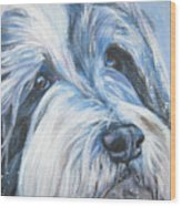 Bearded Collie Up Close In Snow Wood Print