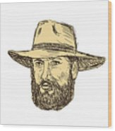 Bearded Cowboy Head Drawing Wood Print