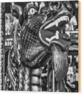 Bearded Dragon Ride Black And White Wood Print