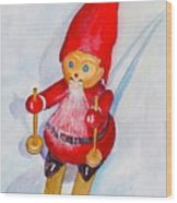 Bearded Elf On Skis Wood Print