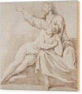 Bearded Man Embracing A Young Woman Wood Print