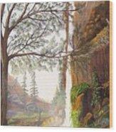 Bears At Waterfall Wood Print