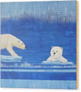 Bears In Global Warming Wood Print