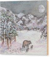 Bears In Winter Wood Print