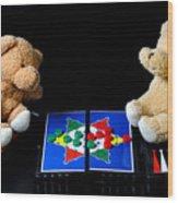 Bears Playing Halma Wood Print