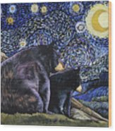 Beary Starry Nights Too Wood Print