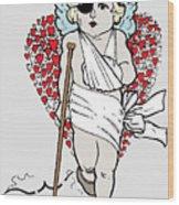 Beaten Up Cupid Art - Funny Love Broken Heart Art Wood Print