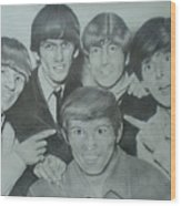Beatles With A New Friend Wood Print