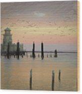 Beau Rivage Lighthouse And Marina Wood Print
