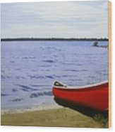 Beaultiful Red Canoe Wood Print