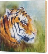 Beautiful Airbrush Painting Of A Mighty Fierce Tiger Head On A Soft Toned Abstract Gres Background  Wood Print