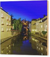 Beautiful Alzette River Side Scene On Road Rue Munster Wood Print