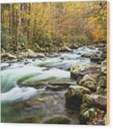 Beautiful Autumn Colors Little Pigeon River Smoky Mountains Wood Print