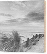 Beautiful Beach Coastal Low Tide Landscape Image At Sunrise In B Wood Print