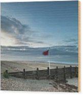 Beautiful Beach Coastal Low Tide Landscape Image At Sunrise With Wood Print