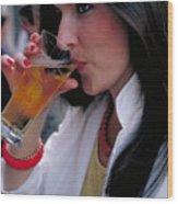 Beautiful Beer Drinker Wood Print