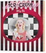 Beautiful Blonde Woman Serving Ice Cream Wood Print
