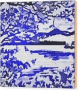 Beautiful Blue Pop Art Scene Wood Print