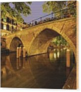 Beautiful Bridge Weesbrug Over The Old Canal In Utrecht At Dusk 220 Wood Print