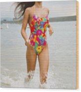 Beautiful Brunette Model On The Beach Wood Print