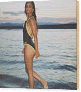 Beautiful Brunette On The Beach Wood Print
