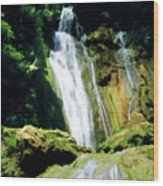 Beautiful Cascades Of Mele Falls Surrounded By Lush Foliage Wood Print