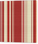 Modern Christmas Stripe Pattern Series Red Currant, Cream, Blush Wood Print