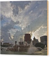 Beautiful Clouds Over Buckingham Fountain Wood Print