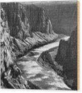 Beautiful Colorado River Page Arizona Blk Wht  Wood Print