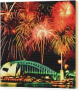 Beautiful Colorful Holiday Fireworks 2 Wood Print