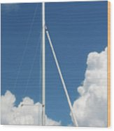 Beautiful Day At The Marina - Mast And Clouds - Color Wood Print