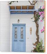 beautiful door Paros Wood Print