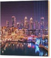 Beautiful Famous Downtown Area In Dubai At Night, Dubai, United Arab Emirates Wood Print