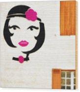 Beautiful French Woman Graffiti Wood Print