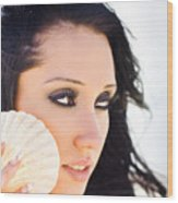 Beautiful Girl Holding A Cockle Shell Wood Print