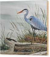 Beautiful Heron Shore Wood Print