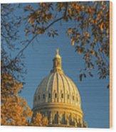 Beautiful Idaho State Capitol In Autumn Morning Wood Print