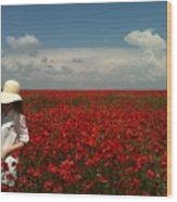 Beautiful Lady And Red Poppies Wood Print