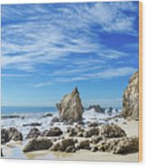 Beautiful Malibu Rocks Wood Print